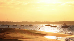 Dreamy Sunset Beach Establishing Shot, France - 1080p Stock Footage
