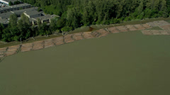 Aerial view of logs timbered from local forests, Vancouver, - stock footage