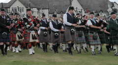 Nairn, Scotland - August 17th, 2013: Massed pipe bands at the Highland Games. Stock Footage