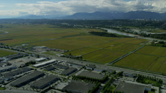Aerial landscape view towards Vancouver city vehicles Stock Footage