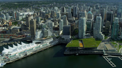 Aerial city view of Canada Place cruise terminal,  Vancouver Stock Footage