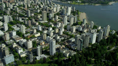 Aerial view Vancouver city offices and residential apartments - stock footage