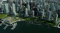 Aerial view Skyscrapers Downtown Vancouver Harbour, Vancouver Stock Footage