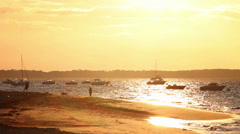 Couple in romantic sunset at the beach of Arcachon, France - 1080p Stock Footage