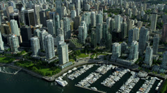 Aerial view Downtown Vancouver city skyscrapers, Canada Stock Footage