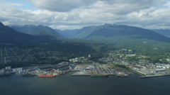 Aerial view Ironworkers Memorial Bridge, Vancouver Stock Footage