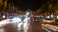 Avenue Champs Elysees, one of the most famous touristic attractions Stock Footage