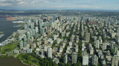 Aerial landscape view over Vancouver Harbour Burrard Inlet Stock Footage