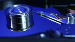 Hard disk drive with spinning platter - stock footage