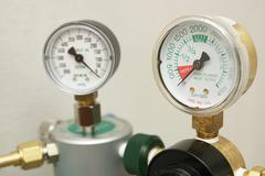 Oxygen gages regulator Stock Photos