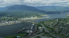 Aerial view Ironworkers Memorial Bridge, Vancouver Stock Footage