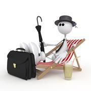the 3d little man on a beach. - stock illustration