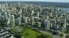 Aerial view Vancouver city buildings Devonian Harbour Park Stock Footage