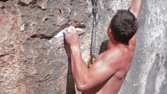 Rock climber clips protection Stock Footage