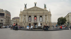 Lviv Theater of Opera .. Timelapse. August 3, 2013. Stock Footage