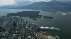 Aerial landscape view over Vancouver Harbour Canada Place Stock Footage
