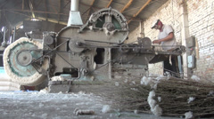 Old cotton cleaning machine, economy Central Asia, industry, factory Stock Footage