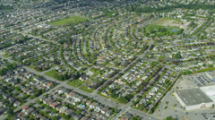 Aerial view residential commuter homes east of Vancouver Stock Footage
