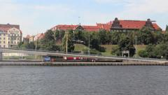 Szczecin, Poland - view from the Odra river Stock Footage