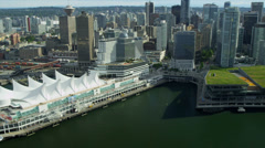 Aerial city view of Canada Place and city Skyscrapers, Vancouver Stock Footage