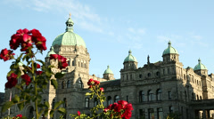 Victoria Parliament Building and Flowers, BC Stock Footage