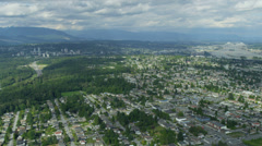Aerial view residential suburbs New Westminster, Vancouver Stock Footage