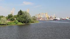 Harbor cranes - Szczecin, Poland. Stock Footage