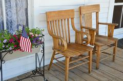 Wooden chairs on porch Stock Photos
