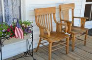 Stock Photo of wooden chairs on porch