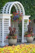white garden archway - stock photo