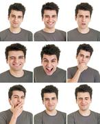 man face expressions - stock photo