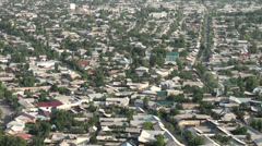 Streets of Osh, pattern, city, urban planning, Soviet Union, Central Asia Stock Footage