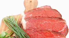 fresh raw red meat with thyme and chives - stock footage