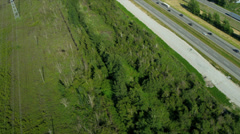 Aerial view of transport on Trans Canada Highway Stock Footage