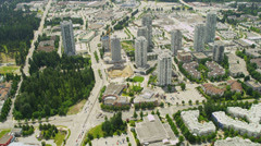 Aerial city view Vancouver suburbs apartments Stock Footage