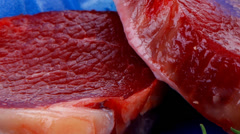 Uncooked raw beef fillet Stock Footage