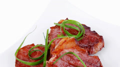 Grilled meat beef steaks strips Stock Footage