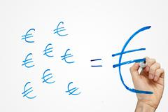 small savings make a big fortune in euro - stock photo