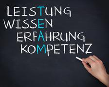 Hand holding a chalk and writing anagram of team in german Stock Photos