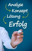 Businessman writing problem analyse konzept losung and erfolg in white Stock Photos