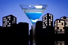 metropolis blue martini cocktail - stock illustration