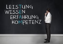 Elegant businessman looking at success terms written in german Stock Photos