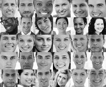 Head shot profile pictures of smiling applicants - stock photo