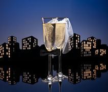 Metropolis champagne cocktail lesbian Stock Illustration