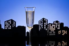 metropolis champagne cocktail - stock illustration