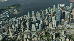 Aerial shoreline view Downtown Vancouver city Stock Footage