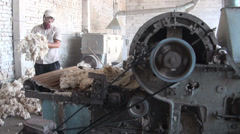 Cotton production, old machine in factory Central Asia Stock Footage