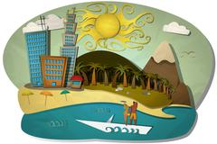 Vector Illustration of Summer and Beach Stock Illustration