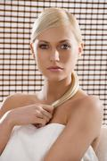 Stock Photo of beauty blond with white towel