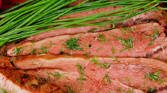 Served corn beef on plate Stock Footage